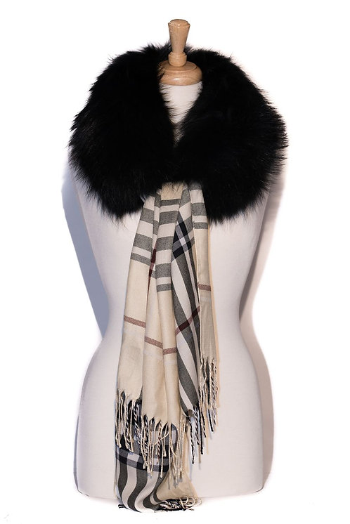 Black with Beige Burberry - Fur Collar with Tube