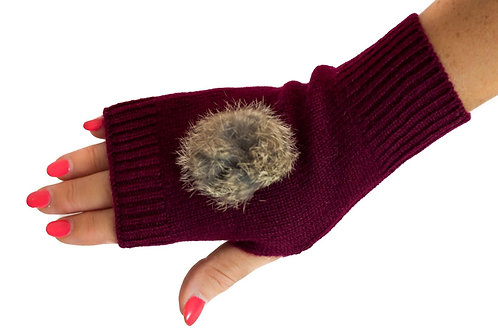 'Maddie' Gloves - Burgundy - Natural Coloured Poms