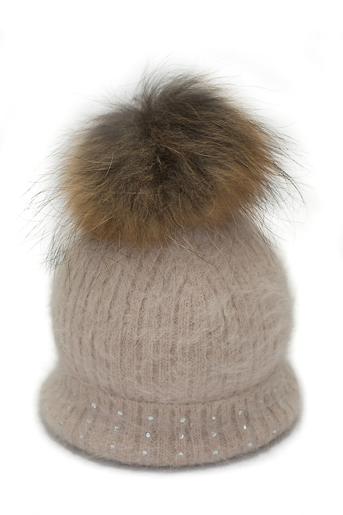 'Katrina' Hat - Beige With Raccoon Pompom