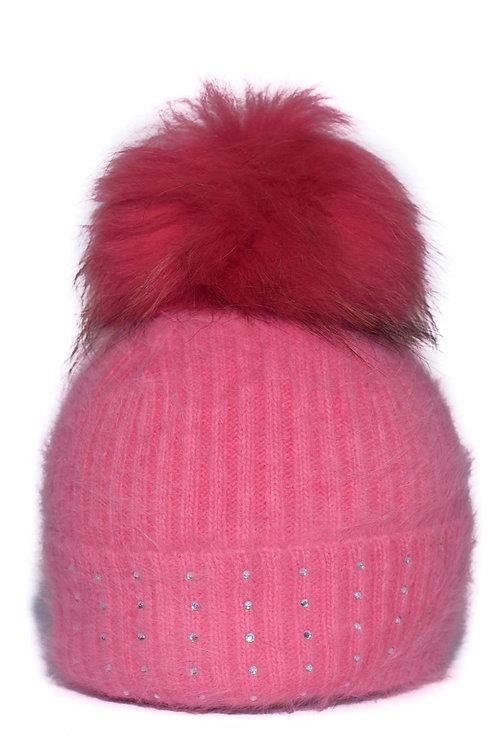'Jessie' - Coral Pompom Hat