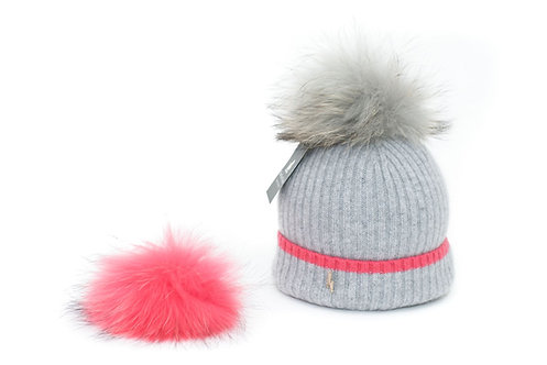 'Millie' Hat - Dove Grey with Pink Stripe