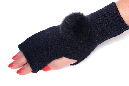 'Molly' Gloves - Navy - Matching Colour Poms