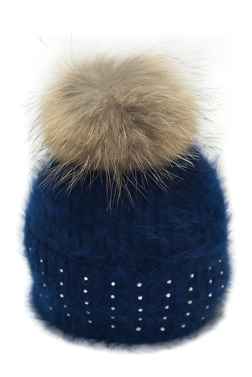'Katrina' Hat - Navy With Raccoon Pompom