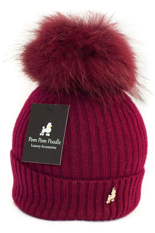 'Molly' Hat - Burgundy with Matching Colour Pom