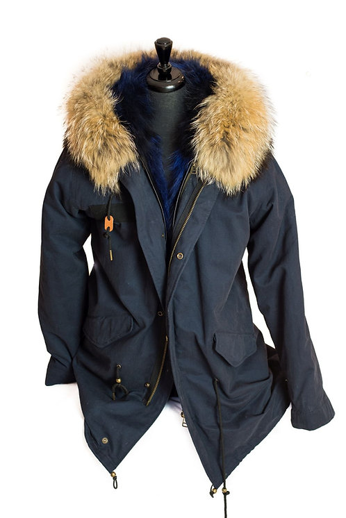 Parka Jacket - Navy/Natural