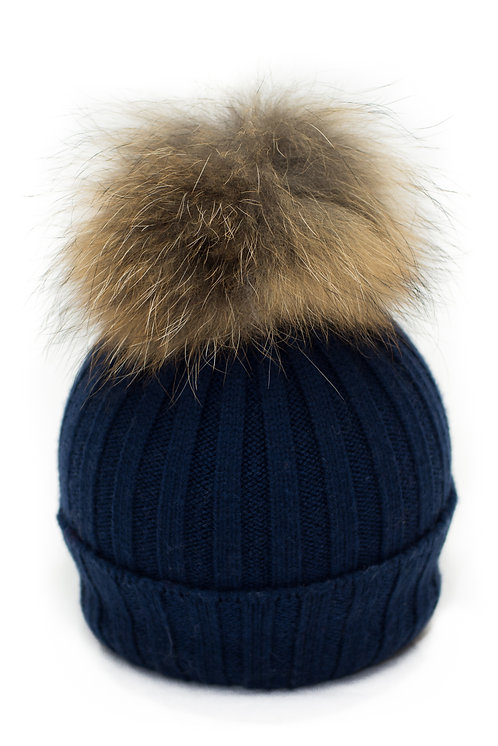 'Olivia' Hat - Navy With Raccoon Pompom