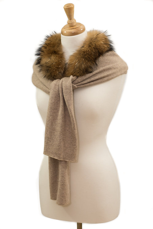 Beige Cashmere Mix Scarf with Raccoon Fur Collar