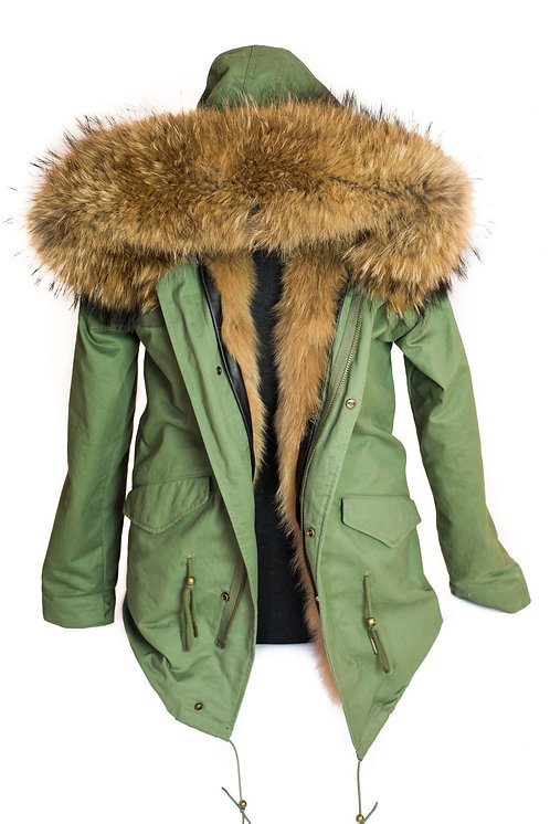 Parka Jacket - Green/Natural