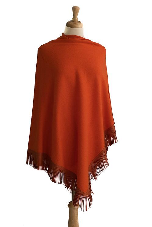 Orange Cashmere/Merino - Orange Leather Fringe