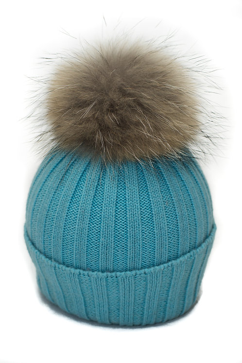'Olivia' Hat - Turquoise With Raccoon Pompom