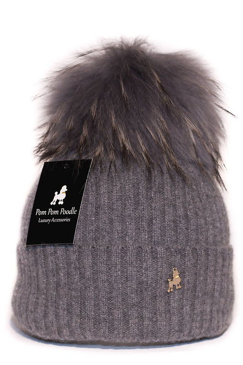 'Molly' Hat - Charcoal with Matching Colour Pom