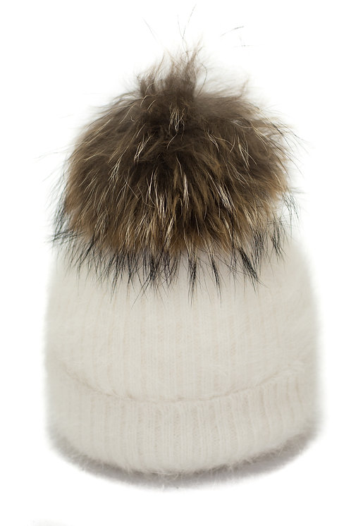 'Tamara' Hat - White With Raccoon Pompom