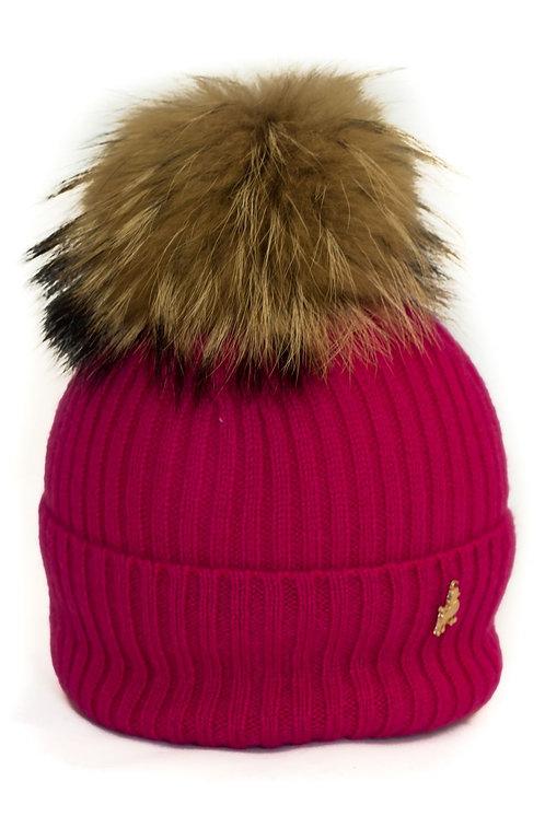 'Maddie' Hat - Fuschia - Natural Colour Pom