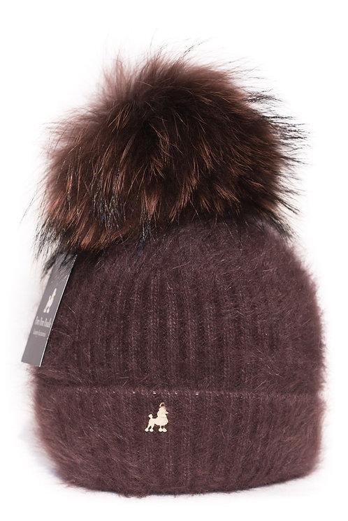 'Jenna' - Brown Pompom Hat