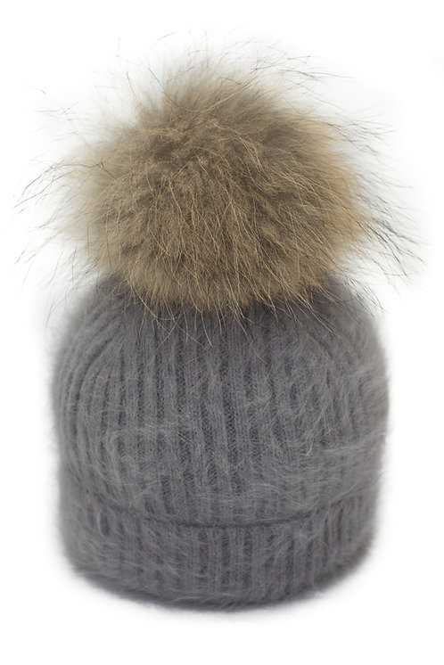 'Tamara' Hat - Grey With Raccoon Pompom