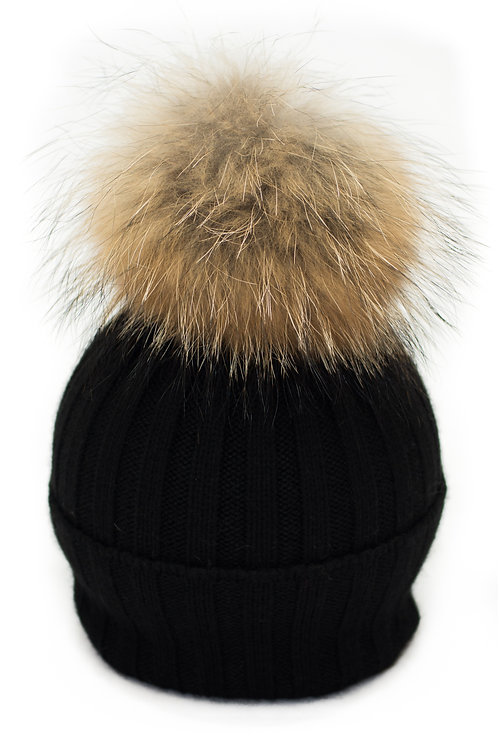 'Olivia' Hat - Black With Raccoon Pompom