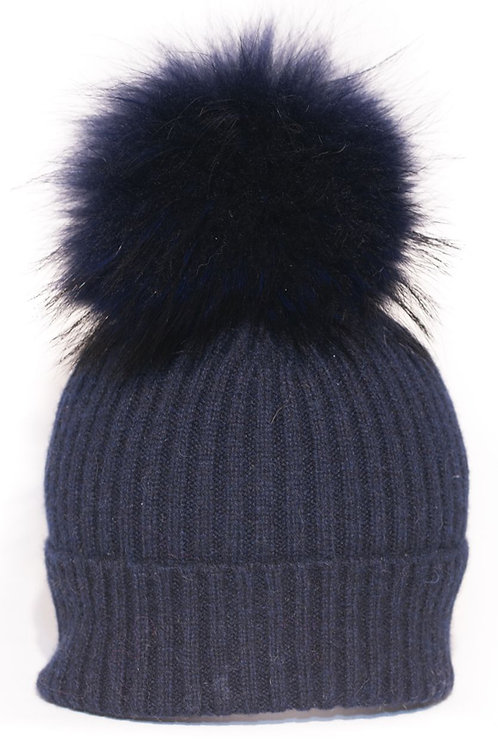 'Molly' Hat - Navy with Matching Colour Pom