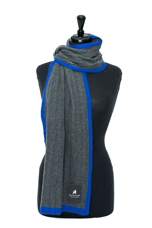 'Millie' Scarf - Charcoal with Neon Blue Stripe