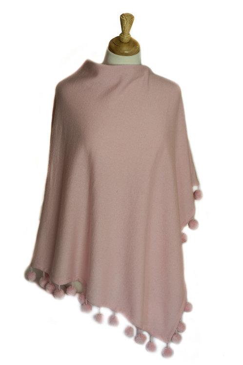 Light Pink - Cashmere/Pompom Poncho