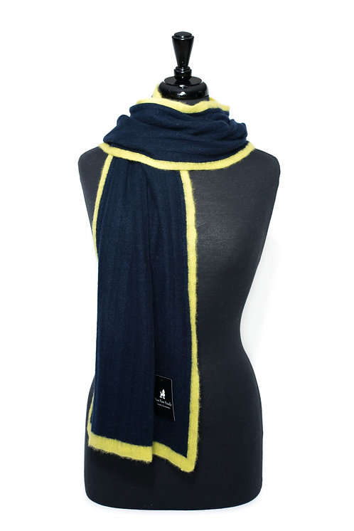 'Millie' Scarf - Navy with Yellow Stripe