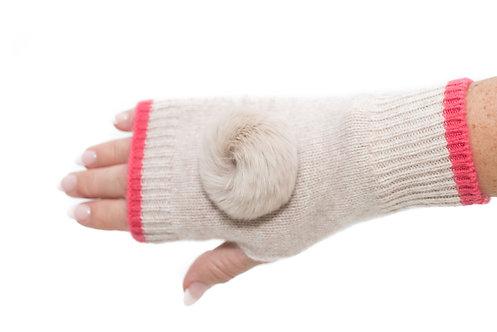 'Millie' Gloves - Beige & Pink - Matching Colour Poms