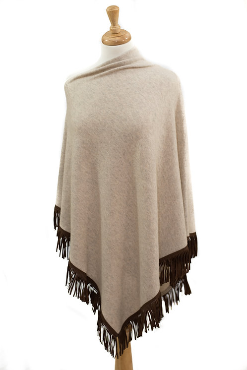 Beige Cashmere/Merino Poncho With Leather Fringe