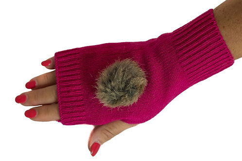 'Maddie' Gloves - Fuschia - Natural Coloured Poms