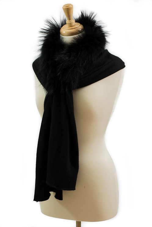 Black Mink Cashmere Scarf with Raccoon Fur Collar
