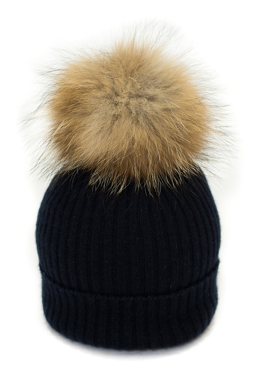 'Maddie' Hat - Navy - Natural Colour Pom
