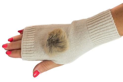 'Maddie' Gloves - Cream - Natural Coloured Poms