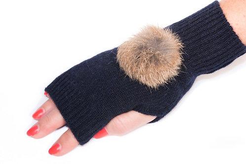 'Maddie' Gloves - Navy - Natural Coloured Poms
