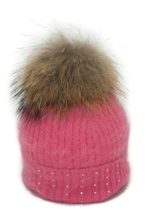 'Katrina' Hat - Coral With Raccoon Pompom