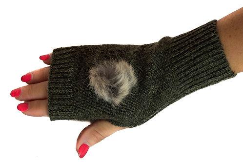 'Maddie' Gloves - Khaki - Natural Coloured Poms