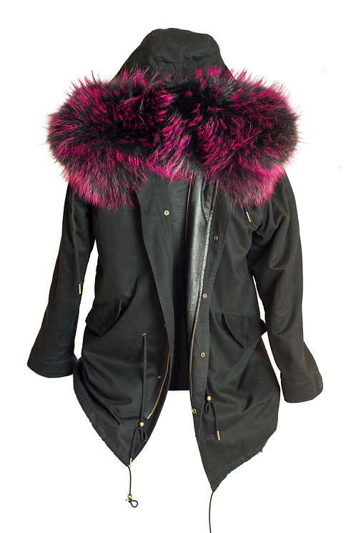 Parka Jacket - Black/Pink