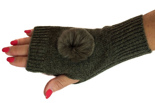 'Molly' Gloves - Khaki - Matching Colour Poms