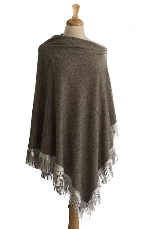Grey Cashmere/Cotton Poncho -Silver Leather Fringe