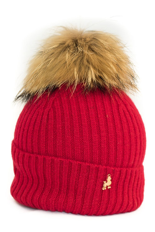 'Maddie' Hat - Red - Natural Colour Pom