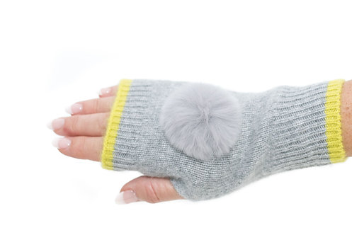 'Millie' Gloves - Dove Grey & Yellow - Matching Colour Poms