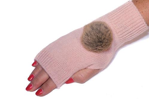 'Maddie' Gloves - Light Pink - Natural Colour Poms