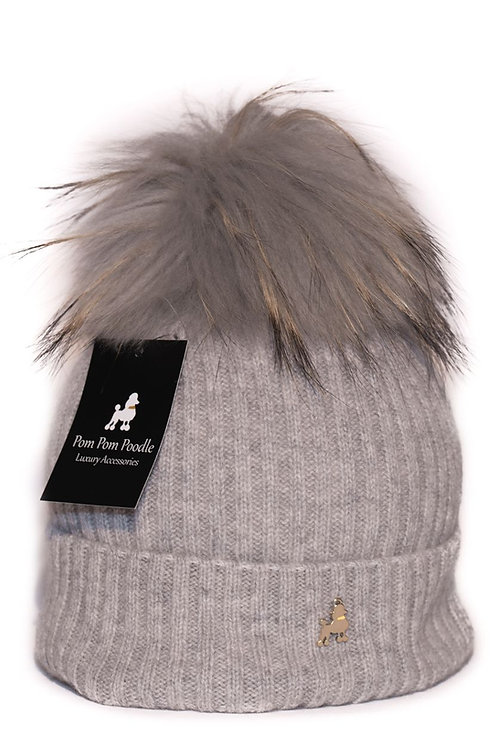 'Molly' Hat - Light Grey with Matching Colour Pom