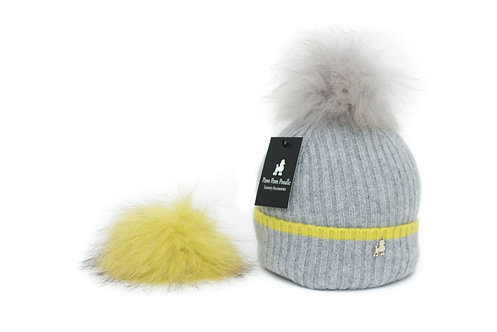 'Millie' Hat - Dove Grey with Yellow Stripe