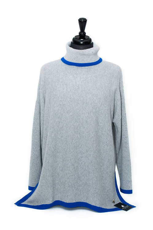Martha - Polo Neck Jumper - Dove Grey & Neon Blue
