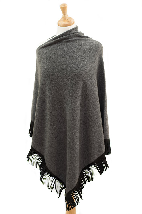 Charcoal Cashmere/Merino Poncho - Black Leather