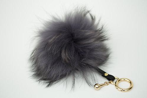 Grey - Luxury Raccoon Pompom Keyring/Bag charm