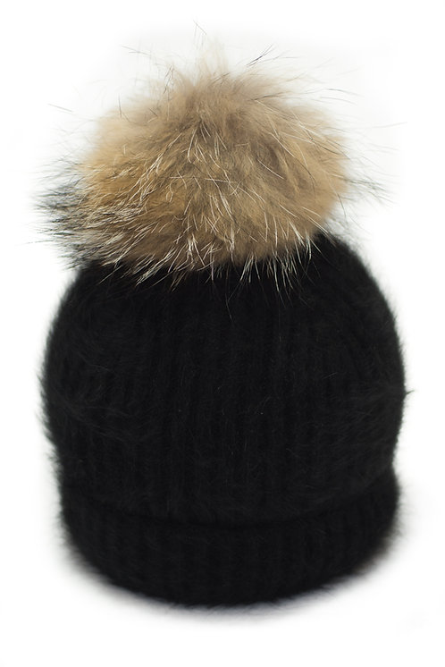 'Tamara' Hat - Black With Raccoon Pompom
