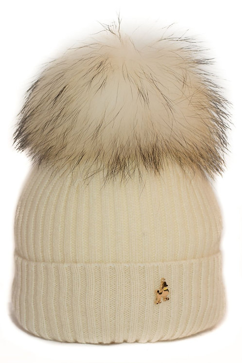 'Molly' Hat - Cream with Matching Colour Pom