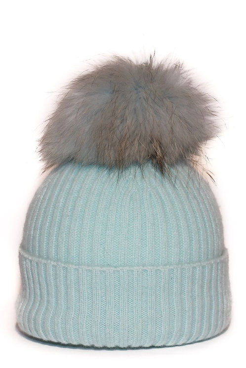 'Molly' Hat - Turquoise with Matching Colour Pom