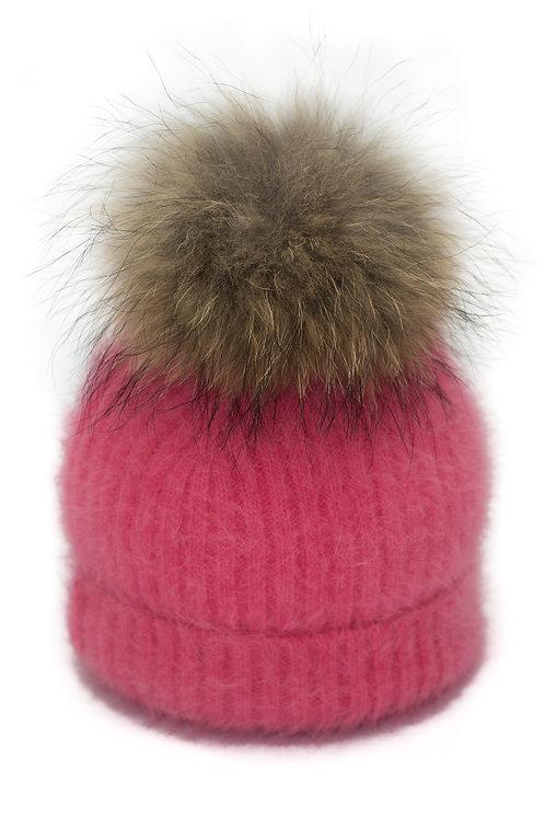'Tamara' Hat - Coral With Raccoon Pompom