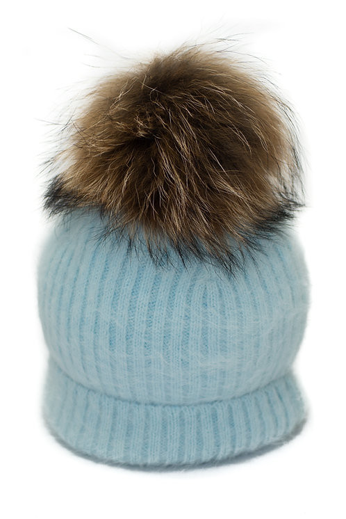 'Tamara' Hat - Light Blue With Raccoon Pompom