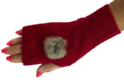'Maddie' Gloves - Red - Natural Coloured Poms